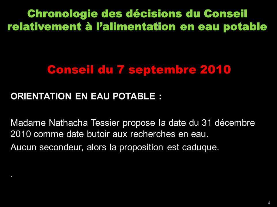 Conseil du 7 septembre 2010 ORIENTATION EN EAU POTABLE : Madame Nathacha Tessier propose la date du 31 décembre 2010 comme date butoir aux recherches en eau.