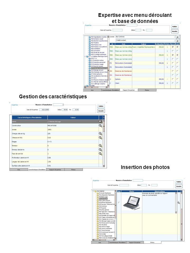 Expertise avec menu déroulant et base de données Gestion des caractéristiques Insertion des photos