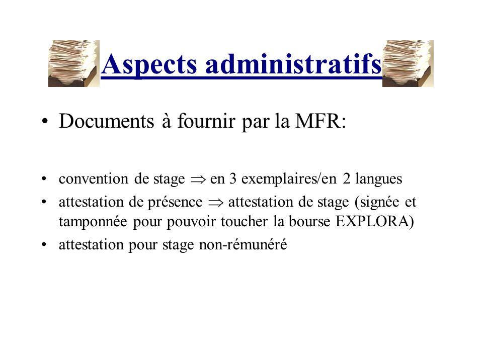 Aspects administratifs Documents à fournir par la MFR: convention de stage en 3 exemplaires/en 2 langues attestation de présence attestation de stage