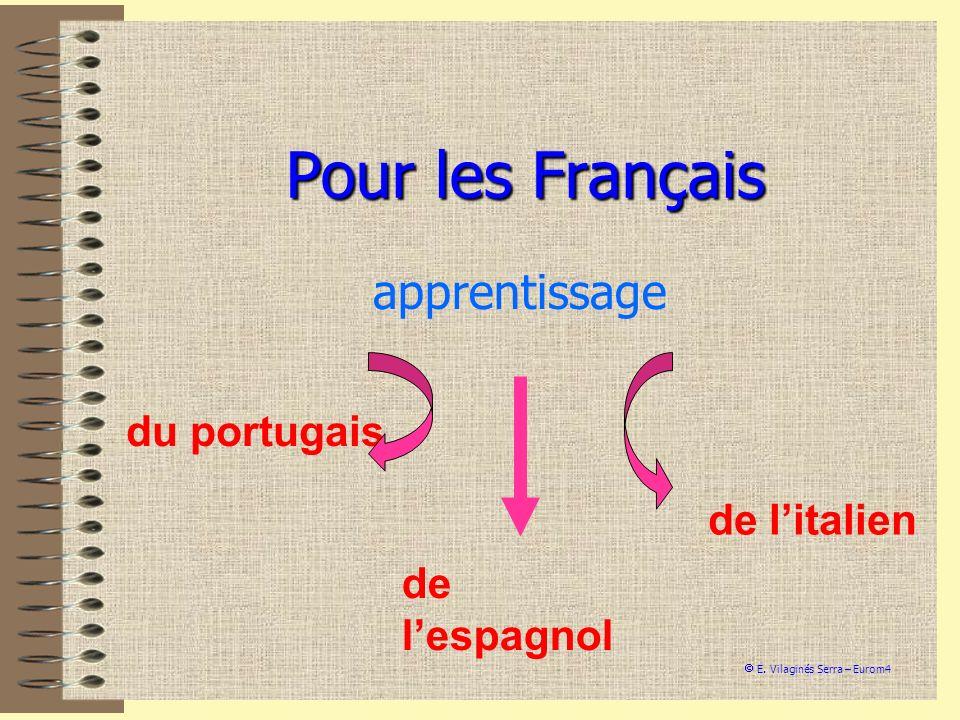 Pour les Français apprentissage du portugais de lespagnol de litalien E. Vilaginés Serra – Eurom4