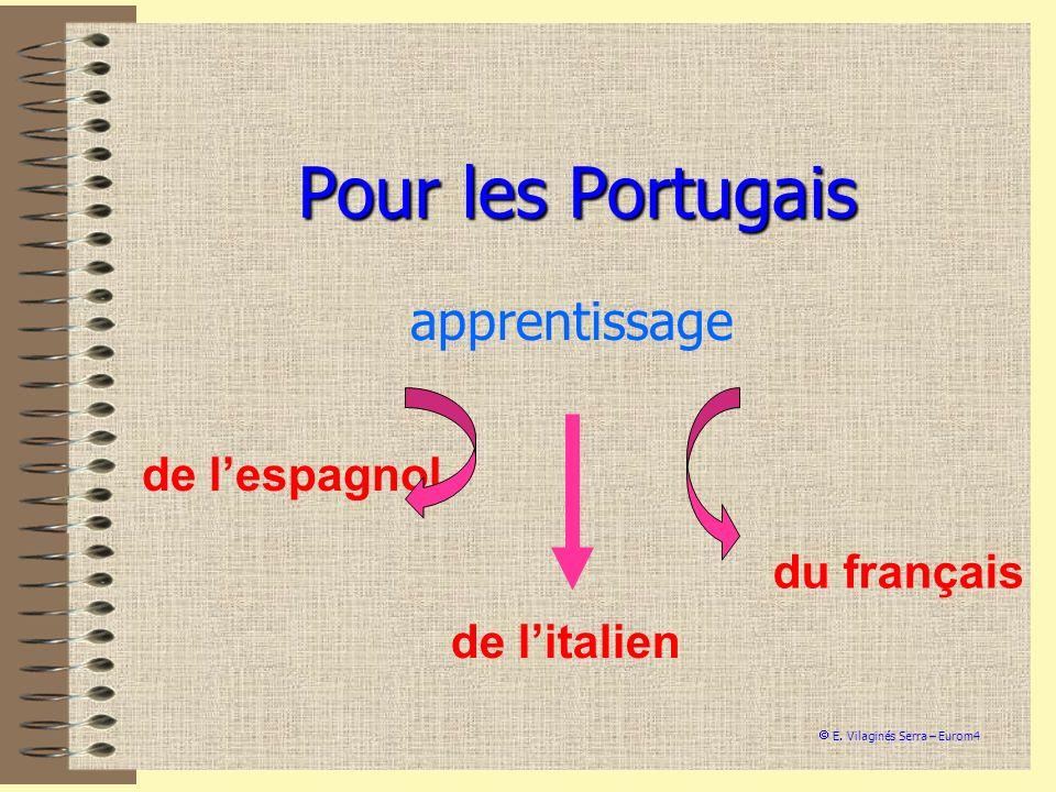 Pour les Portugais apprentissage de lespagnol de litalien du français E. Vilaginés Serra – Eurom4