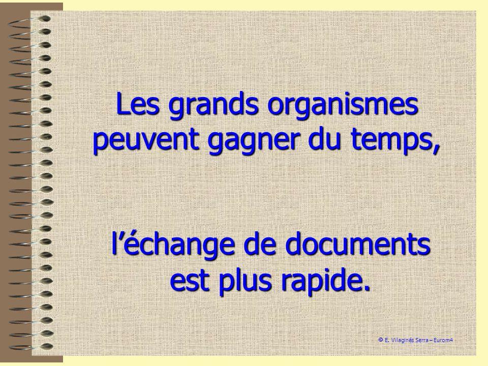 Les grands organismes peuvent gagner du temps, léchange de documents est plus rapide. E. Vilaginés Serra – Eurom4
