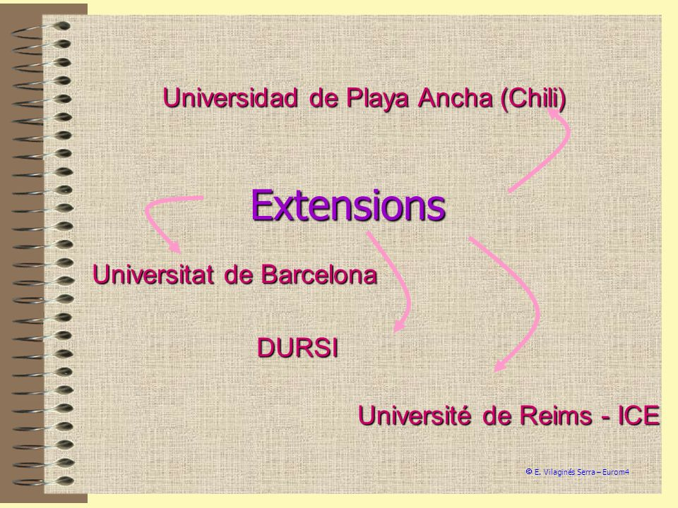 Universidad de Playa Ancha (Chili) Universitat de Barcelona Université de Reims - ICE E. Vilaginés Serra – Eurom4 Extensions DURSI