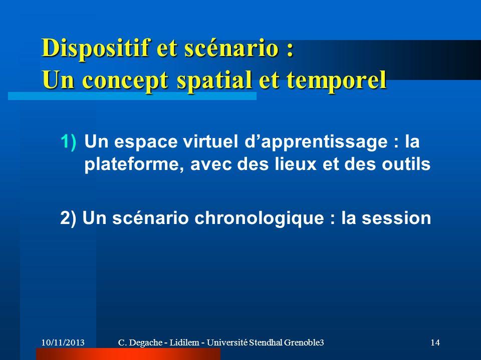 10/11/2013C. Degache - Lidilem - Université Stendhal Grenoble314 Dispositif et scénario : Un concept spatial et temporel 1)Un espace virtuel dapprenti