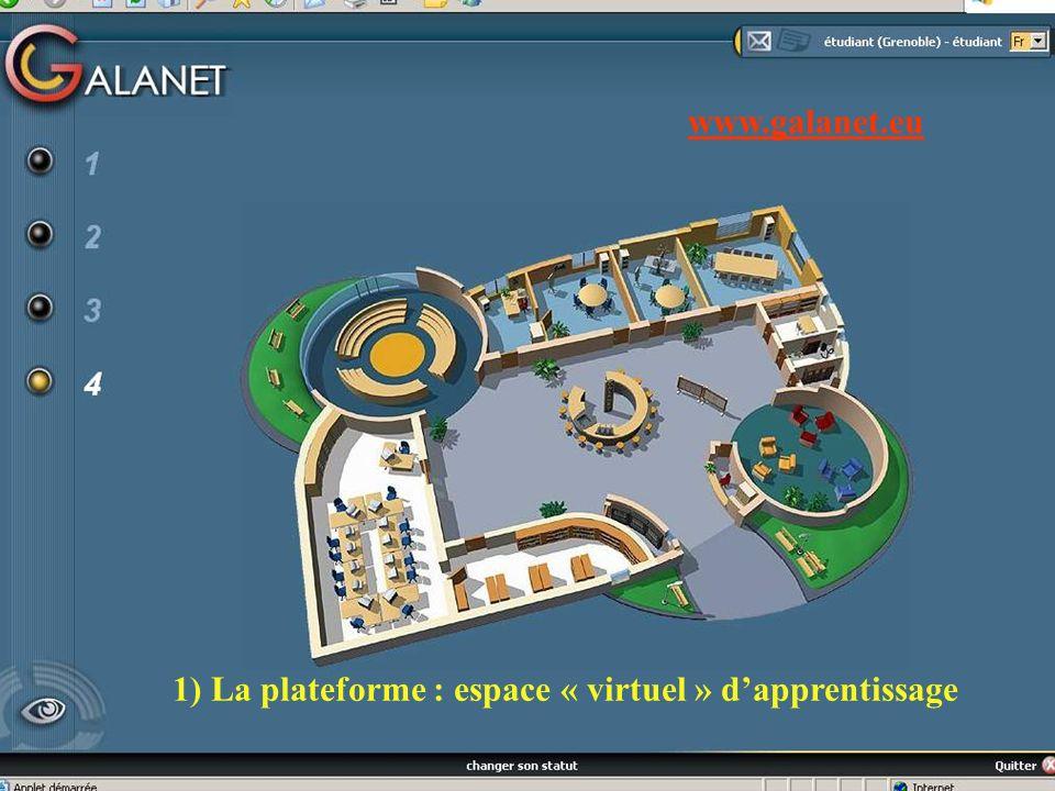 10/11/2013C. Degache - Lidilem - Université Stendhal Grenoble315 1) La plateforme : espace « virtuel » dapprentissage www.galanet.be www.galanet.eu 1)