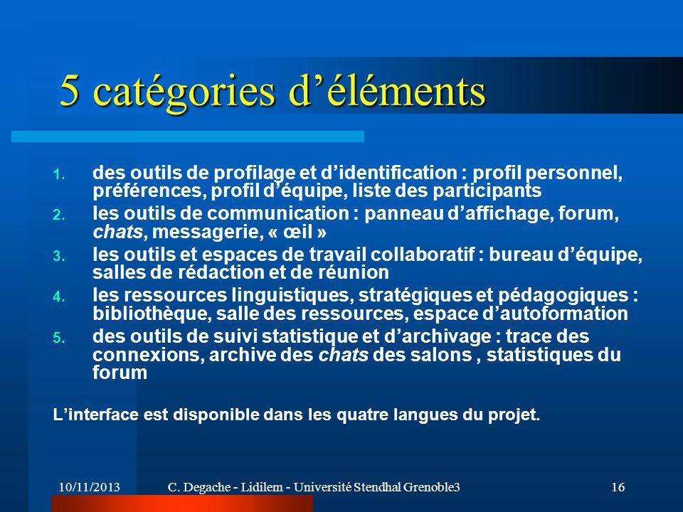 10/11/2013C. Degache - Lidilem - Université Stendhal Grenoble316 5 catégories déléments 1. des outils de profilage et didentification : profil personn