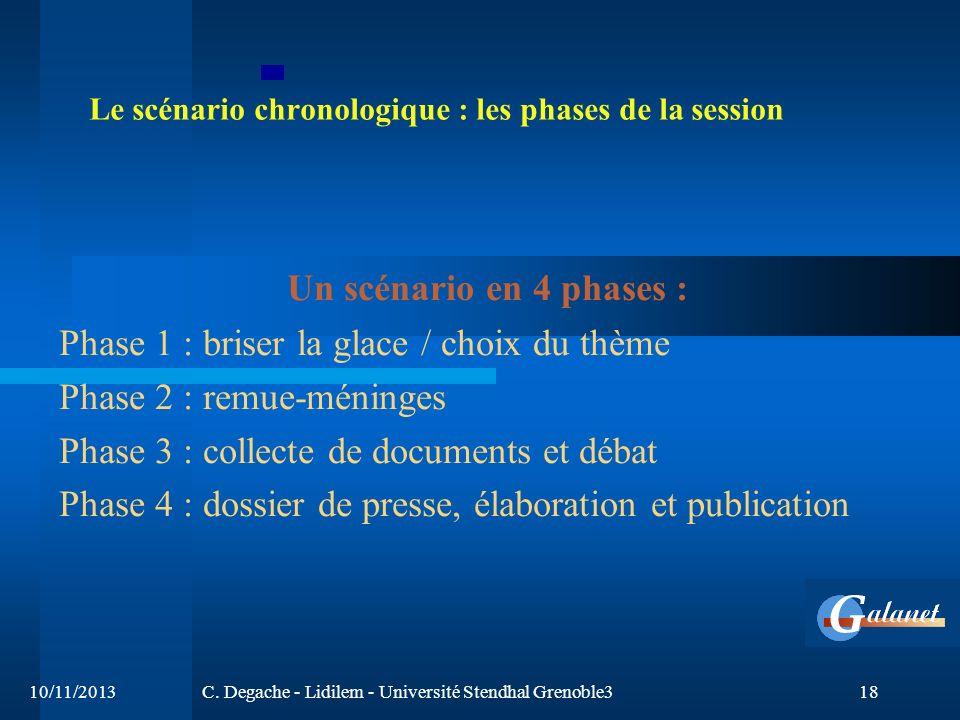 10/11/2013C. Degache - Lidilem - Université Stendhal Grenoble318 Le scénario chronologique : les phases de la session Un scénario en 4 phases : Phase