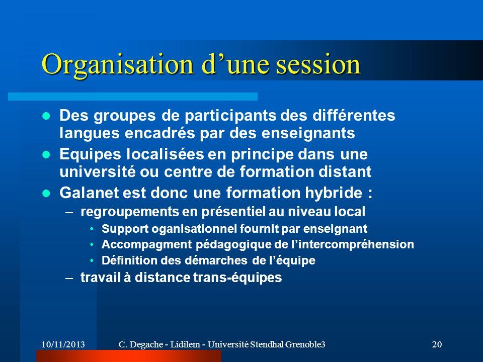 10/11/2013C. Degache - Lidilem - Université Stendhal Grenoble320 Organisation dune session Des groupes de participants des différentes langues encadré