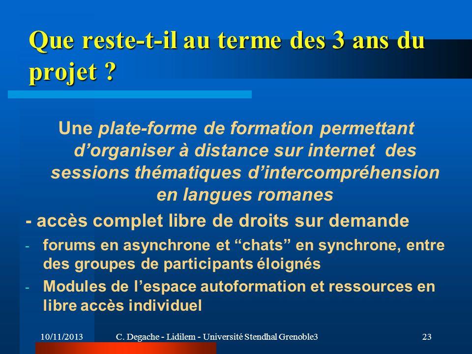 10/11/2013C. Degache - Lidilem - Université Stendhal Grenoble323 Que reste-t-il au terme des 3 ans du projet ? Une plate-forme de formation permettant