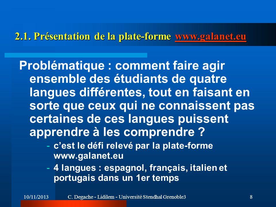 10/11/2013C. Degache - Lidilem - Université Stendhal Grenoble38 2.1. Présentation de la plate-forme www.galanet.eu www.galanet.eu Problématique : comm