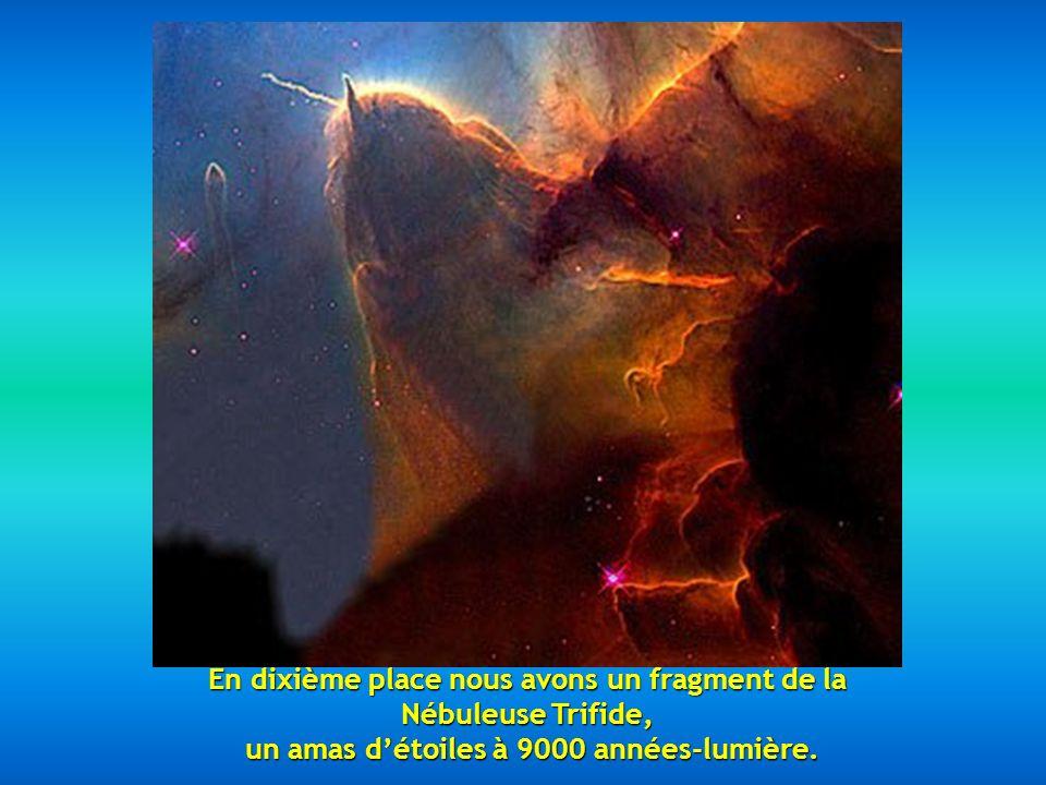 En neuvième place, deux galaxies en tourbillon, la NGC 2207 et la IC 2163 situées à 114 millions d années-lumière.