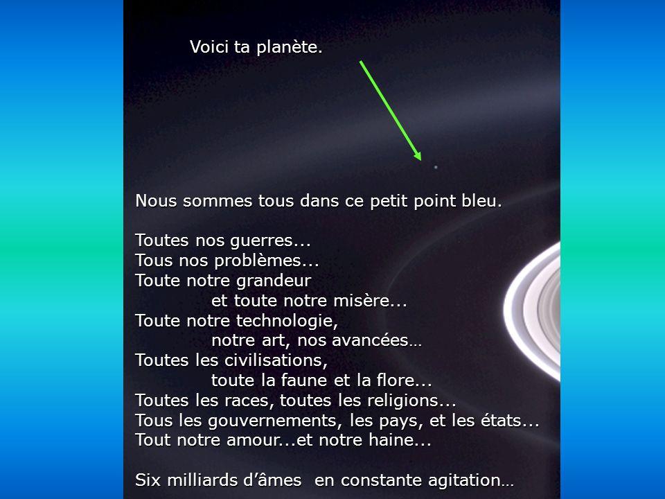 Héla aquí, pues: Contemple cette photo quelques instants. Elle a été prise par Cassini-Juygens, un vaisseau spatial automatique, en 2004, à larrivée a