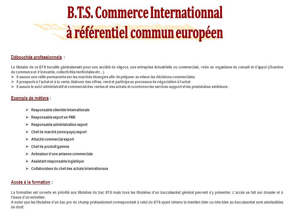 Débouchés professionnels : Le titulaire de ce BTS travaille généralement pour une société de négoce, une entreprise industrielle ou commerciale, voire un organisme de conseil et d appui (Chambre de commerce et d industrie, collectivités territoriales etc...).