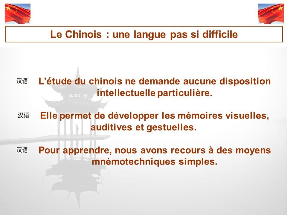 Létude du chinois ne demande aucune disposition intellectuelle particulière.