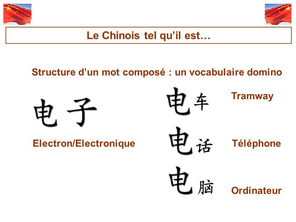 Structure dun mot composé : un vocabulaire domino Tramway Electron/Electronique Téléphone Ordinateur Le Chinois tel quil est…