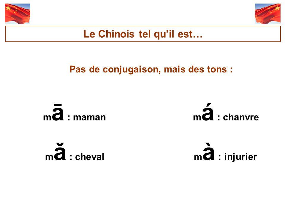 Pas de conjugaison, mais des tons : m ā : maman m á : chanvre m ǎ : cheval m à : injurier Le Chinois tel quil est…