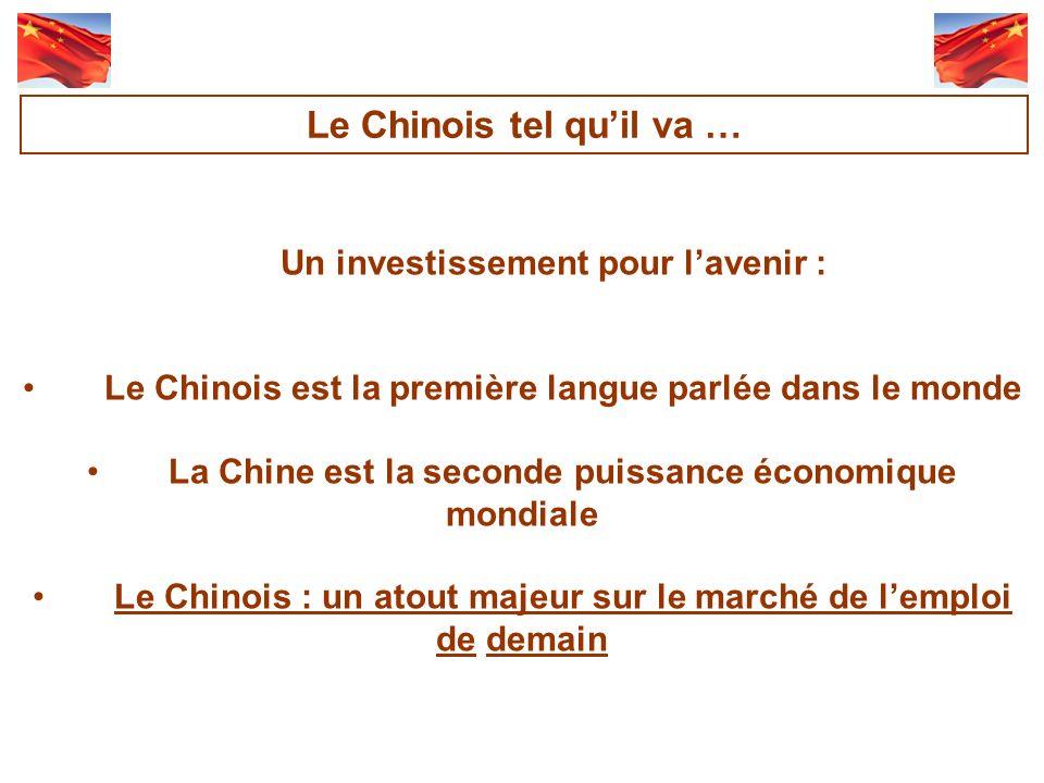 Un investissement pour lavenir : Le Chinois est la première langue parlée dans le monde La Chine est la seconde puissance économique mondiale Le Chinois : un atout majeur sur le marché de lemploi de demain Le Chinois tel quil va …