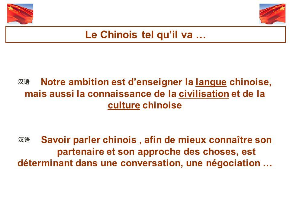 Notre ambition est denseigner la langue chinoise, mais aussi la connaissance de la civilisation et de la culture chinoise Savoir parler chinois, afin de mieux connaître son partenaire et son approche des choses, est déterminant dans une conversation, une négociation … Le Chinois tel quil va …
