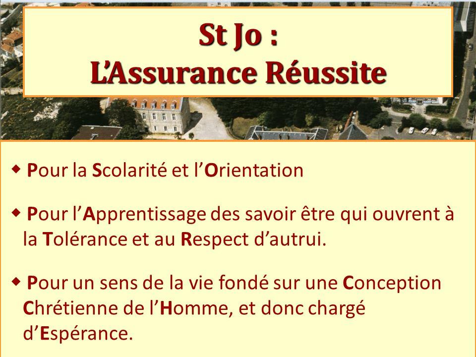 St Jo : LAssurance Réussite Pour la Scolarité et l Orientation Pour l Apprentissage des savoir être qui ouvrent à la Tolérance et au Respect d autrui.