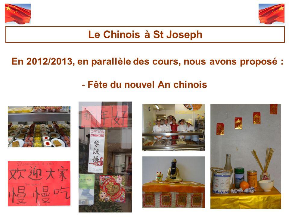 En 2012/2013, en parallèle des cours, nous avons proposé : -Fête du nouvel An chinois Le Chinois à St Joseph