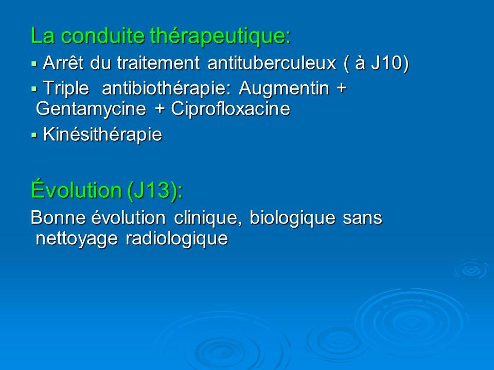 La conduite thérapeutique: Arrêt du traitement antituberculeux ( à J10) Arrêt du traitement antituberculeux ( à J10) Triple antibiothérapie: Augmentin + Gentamycine + Ciprofloxacine Triple antibiothérapie: Augmentin + Gentamycine + Ciprofloxacine Kinésithérapie Kinésithérapie Évolution (J13): Bonne évolution clinique, biologique sans nettoyage radiologique