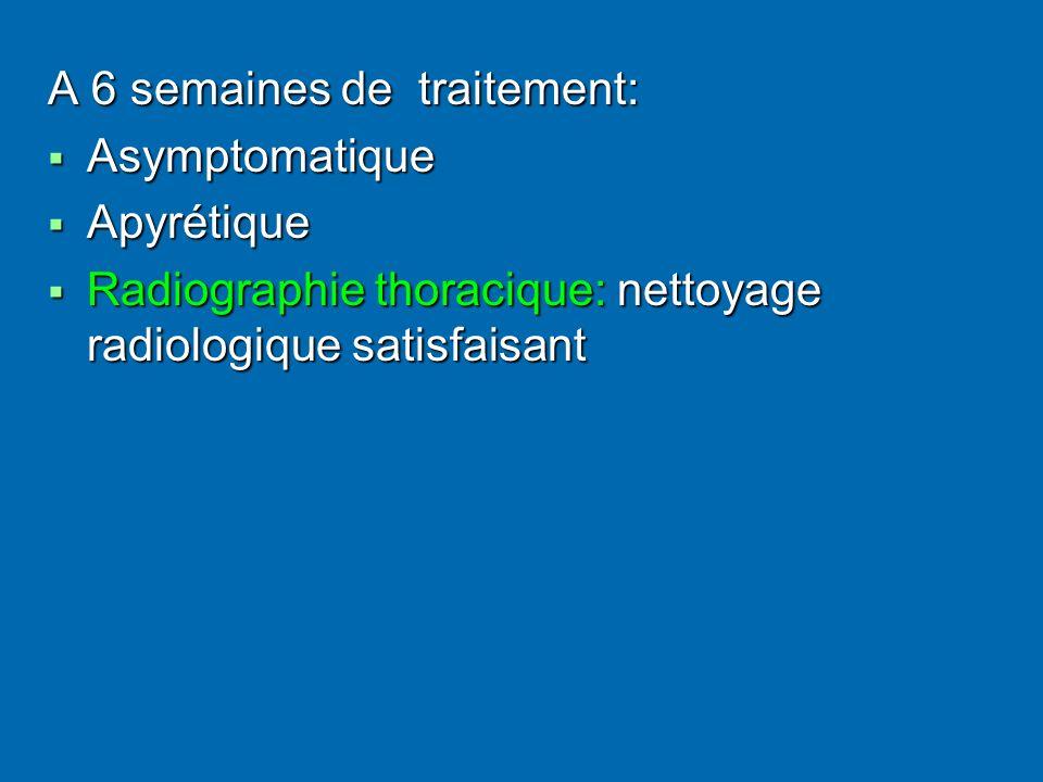 A 6 semaines de traitement: Asymptomatique Asymptomatique Apyrétique Apyrétique Radiographie thoracique: nettoyage radiologique satisfaisant Radiographie thoracique: nettoyage radiologique satisfaisant