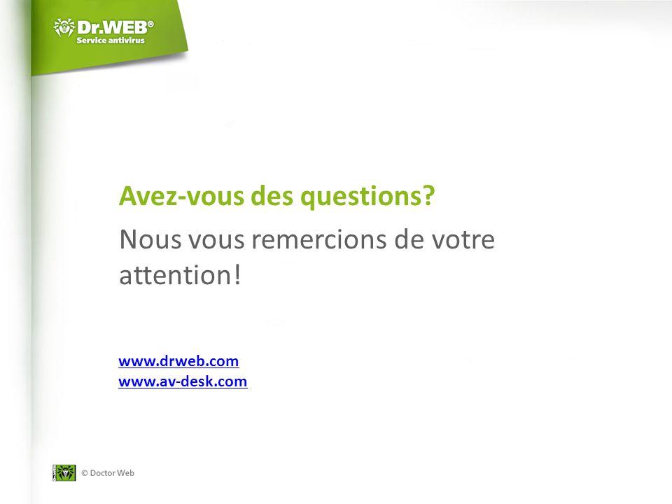 Avez-vous des questions Nous vous remercions de votre attention! www.drweb.com www.av-desk.com