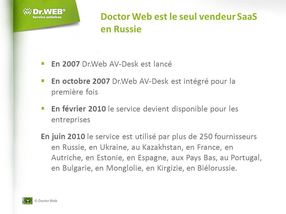 Doctor Web est le seul vendeur SaaS en Russie En 2007 Dr.Web AV-Desk est lancé En octobre 2007 Dr.Web AV-Desk est intégré pour la première fois En février 2010 le service devient disponible pour les entreprises En juin 2010 le service est utilisé par plus de 250 fournisseurs en Russie, en Ukraine, au Kazakhstan, en France, en Autriche, en Estonie, en Espagne, aux Pays Bas, au Portugal, en Bulgarie, en Monglolie, en Kirgizie, en Biélorussie.