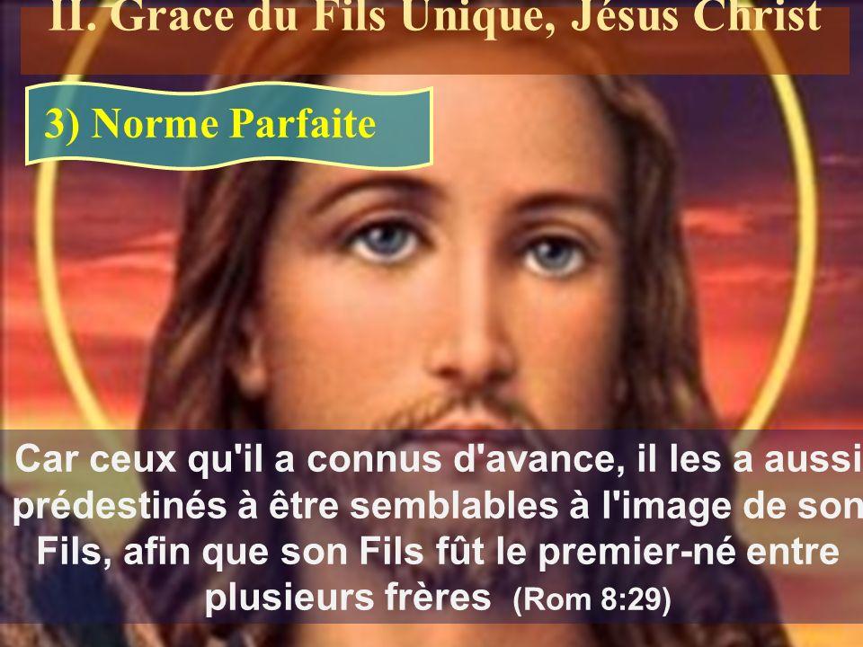 Car ceux qu il a connus d avance, il les a aussi prédestinés à être semblables à l image de son Fils, afin que son Fils fût le premier-né entre plusieurs frères (Rom 8:29) 3) Norme Parfaite II.