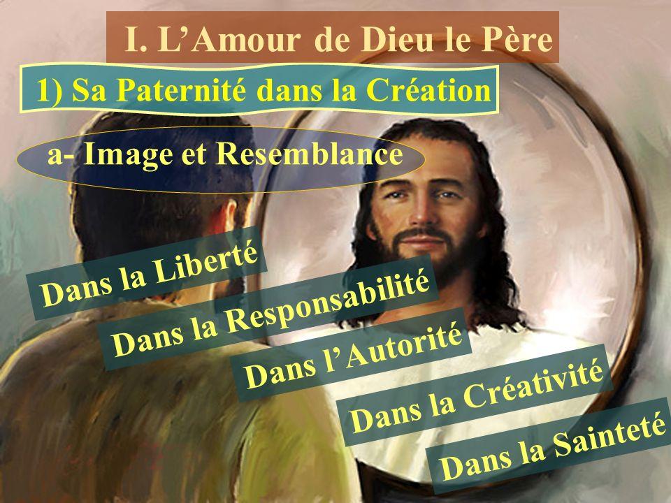 1) Sa Paternité dans la Création a- Image et Resemblance Dans la Liberté Dans la Responsabilité Dans lAutorité Dans la Créativité Dans la Sainteté I.