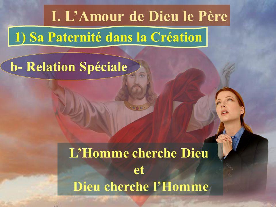 b- Relation Spéciale LHomme cherche Dieu et Dieu cherche lHomme 1) Sa Paternité dans la Création I. LAmour de Dieu le Père