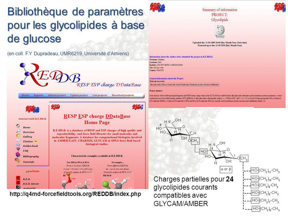http://q4md-forcefieldtools.org/REDDB/index.php Charges partielles pour 24 glycolipides courants compatibles avec GLYCAM/AMBER Bibliothèque de paramèt