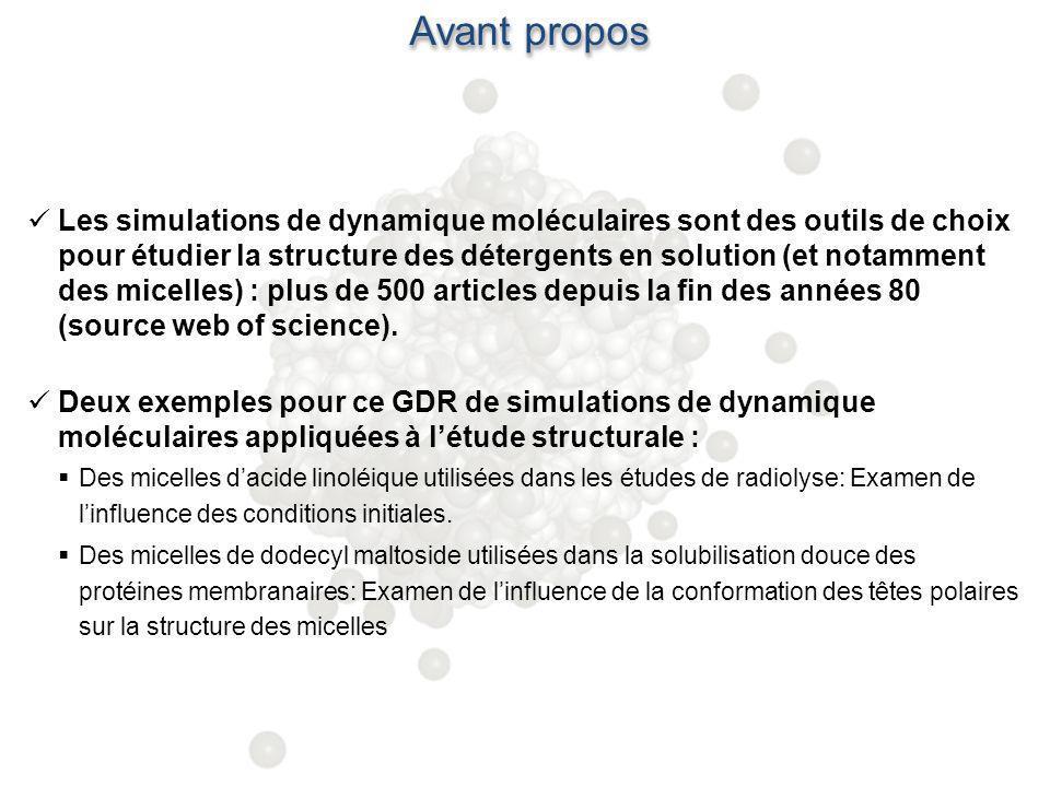 Avant propos Les simulations de dynamique moléculaires sont des outils de choix pour étudier la structure des détergents en solution (et notamment des