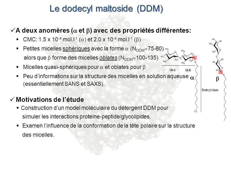 Le dodecyl maltoside (DDM) A deux anomères ( et ) avec des propriétés différentes: CMC: 1.5 x 10 -4 mol.l -1 ( ) et 2.0 x 10 -4 mol.l -1 ( ) Petites m