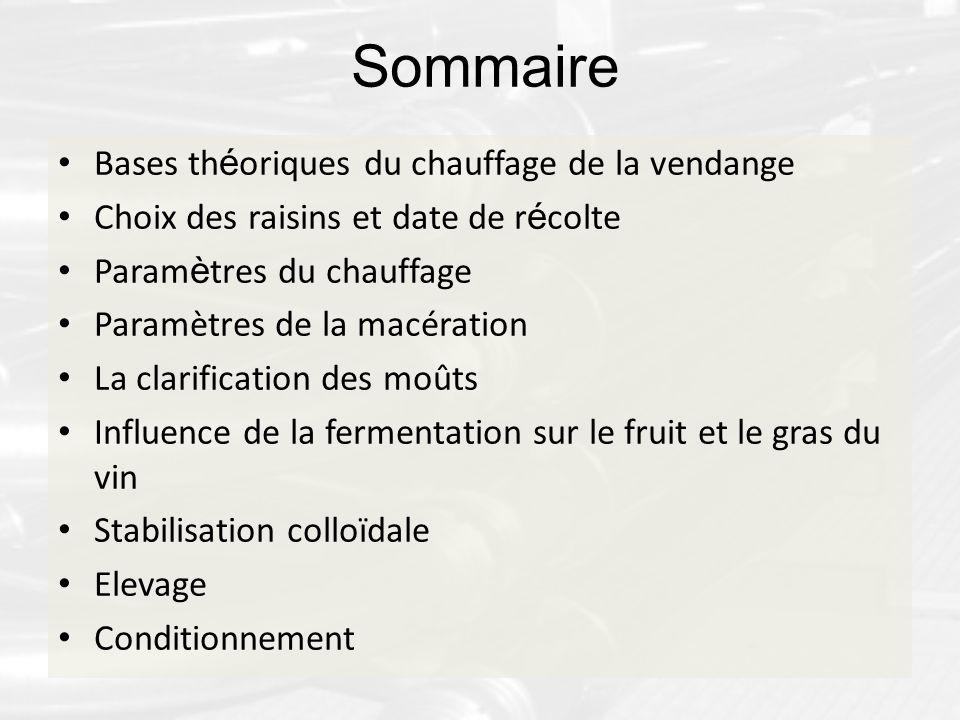 Sommaire Bases th é oriques du chauffage de la vendange Choix des raisins et date de r é colte Param è tres du chauffage Paramètres de la macération L