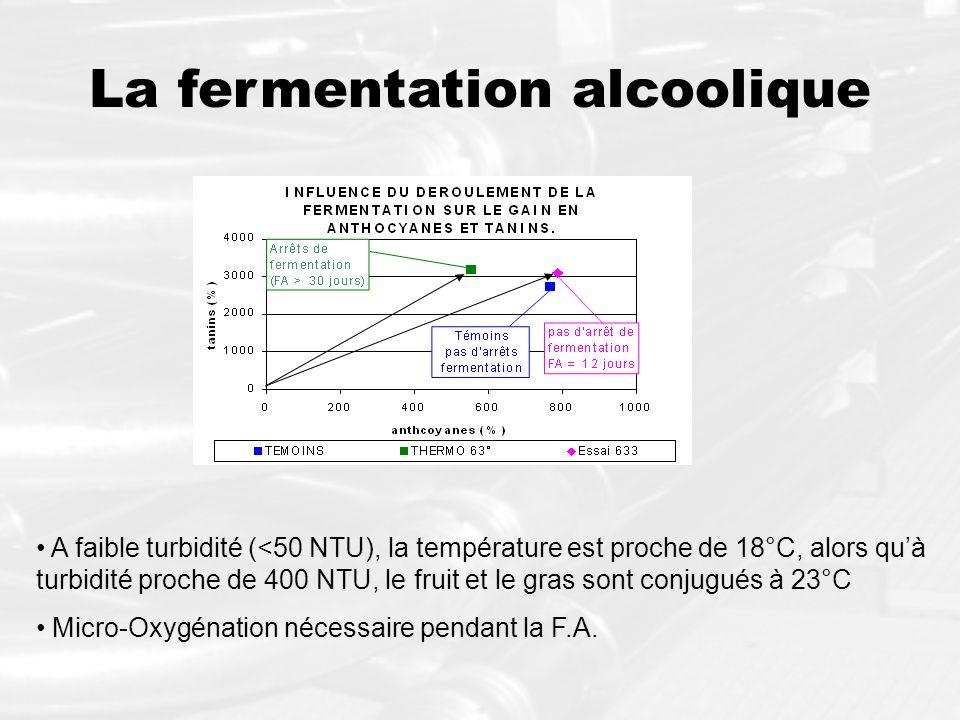 La fermentation alcoolique A faible turbidité (<50 NTU), la température est proche de 18°C, alors quà turbidité proche de 400 NTU, le fruit et le gras