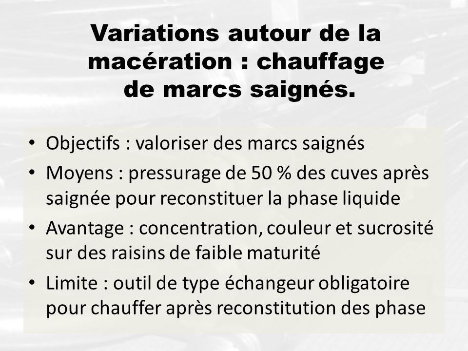 Variations autour de la macération : chauffage de marcs saignés. Objectifs : valoriser des marcs saignés Moyens : pressurage de 50 % des cuves après s