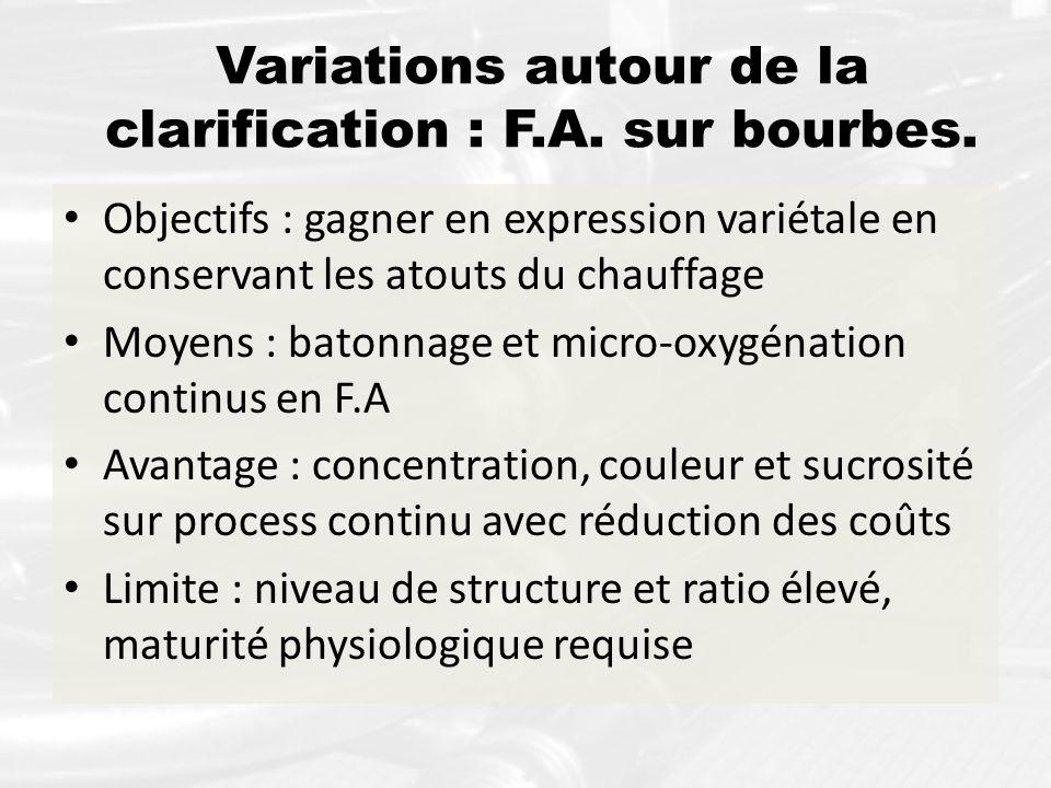 Variations autour de la clarification : F.A. sur bourbes. Objectifs : gagner en expression variétale en conservant les atouts du chauffage Moyens : ba