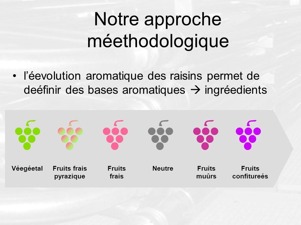 Notre approche méethodologique léevolution aromatique des raisins permet de deéfinir des bases aromatiques ingréedients VéegéetalFruits frais pyraziqu