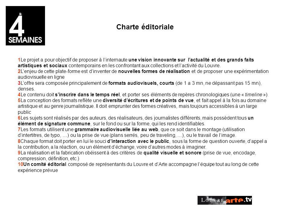 Charte éditoriale 1Le projet a pour objectif de proposer à linternaute une vision innovante sur lactualité et des grands faits artistiques et sociaux contemporains en les confrontant aux collections et lactivité du Louvre.