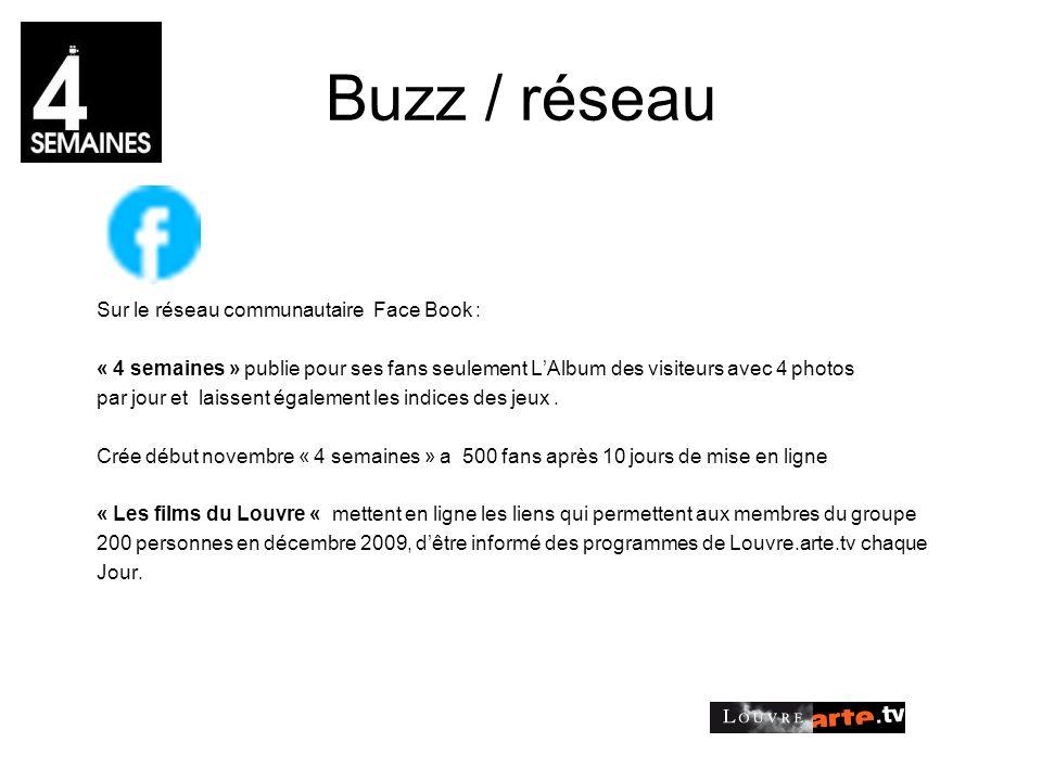 Buzz / réseau Sur le réseau communautaire Face Book : « 4 semaines » publie pour ses fans seulement LAlbum des visiteurs avec 4 photos par jour et laissent également les indices des jeux.