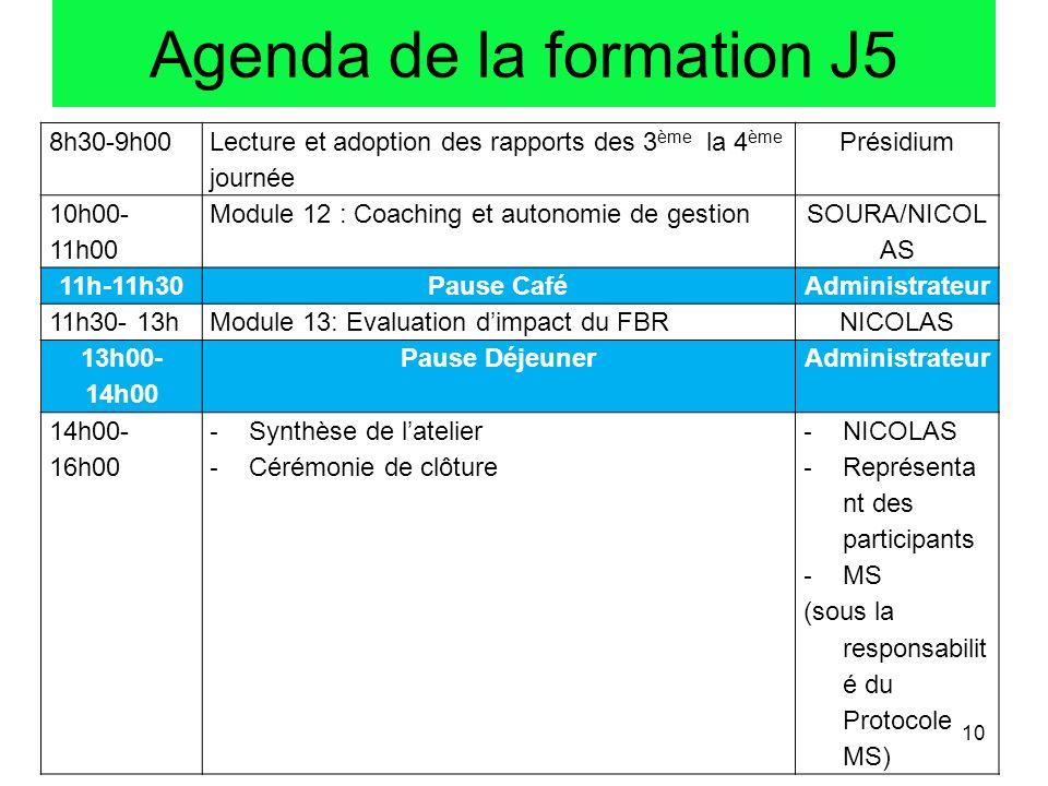 8h30-9h00 Lecture et adoption des rapports des 3 ème la 4 ème journée Présidium 10h00- 11h00 Module 12 : Coaching et autonomie de gestion SOURA/NICOL