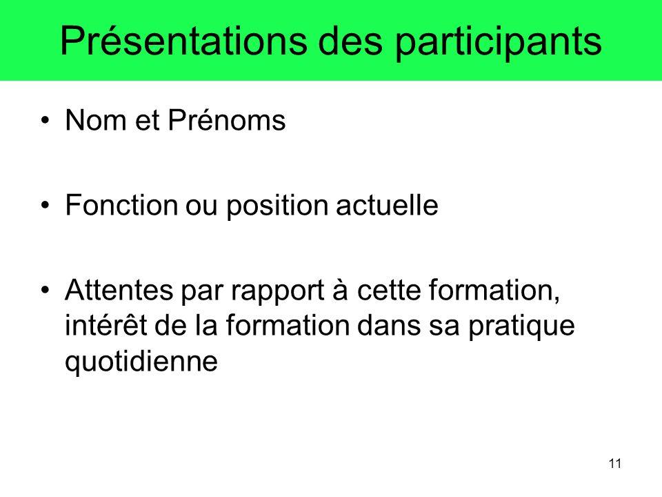 11 Présentations des participants Nom et Prénoms Fonction ou position actuelle Attentes par rapport à cette formation, intérêt de la formation dans sa