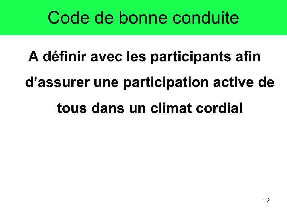 12 Code de bonne conduite A définir avec les participants afin dassurer une participation active de tous dans un climat cordial