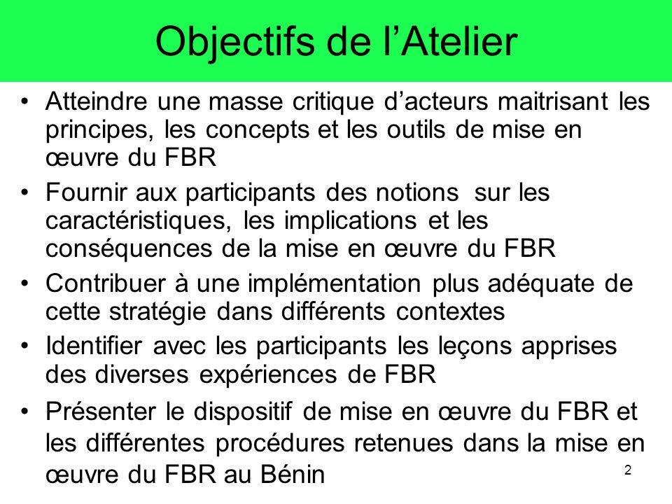 2 Objectifs de lAtelier Atteindre une masse critique dacteurs maitrisant les principes, les concepts et les outils de mise en œuvre du FBR Fournir aux