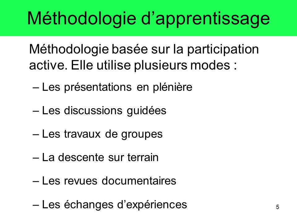 5 Méthodologie dapprentissage Méthodologie basée sur la participation active. Elle utilise plusieurs modes : –Les présentations en plénière –Les discu