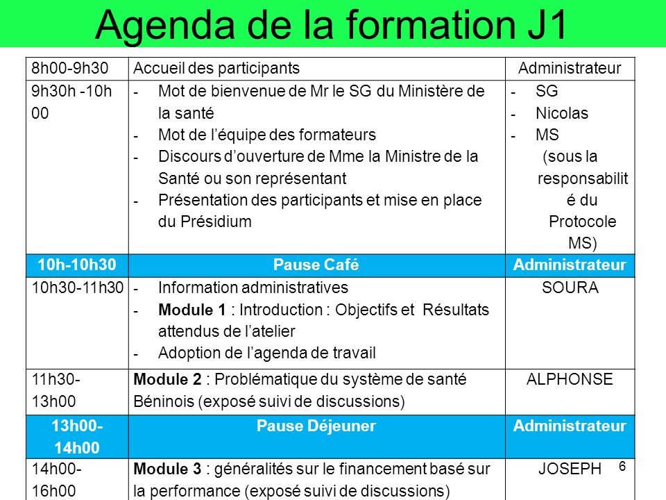 Agenda de la formation J1 6 8h00-9h30Accueil des participantsAdministrateur 9h30h -10h 00 - Mot de bienvenue de Mr le SG du Ministère de la santé - Mo
