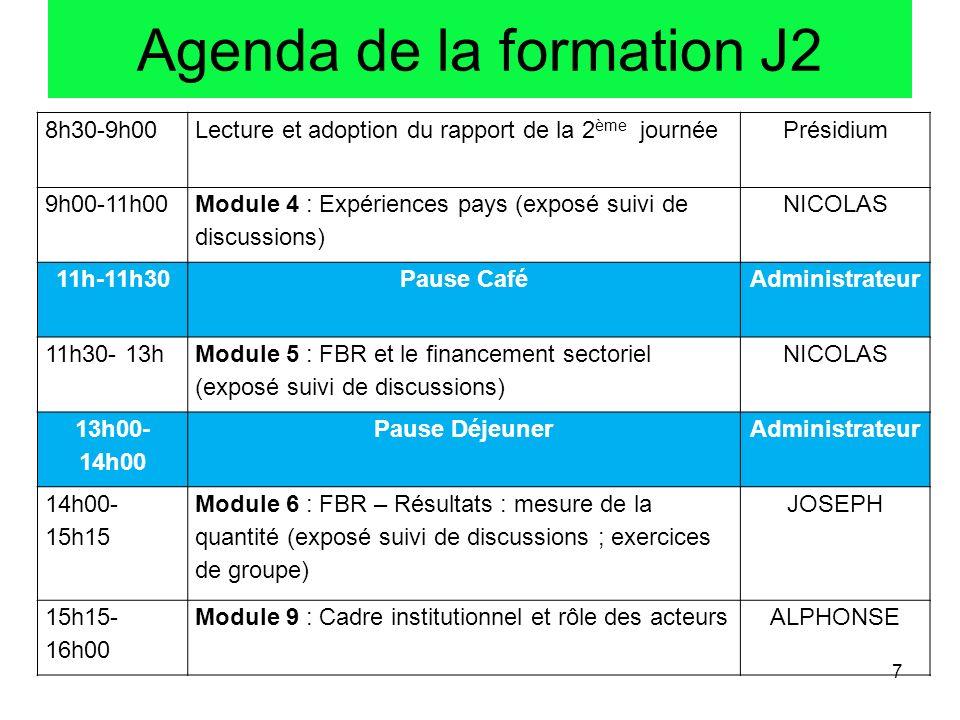 Agenda de la formation J2 8h30-9h00Lecture et adoption du rapport de la 2 ème journéePrésidium 9h00-11h00 Module 4 : Expériences pays (exposé suivi de