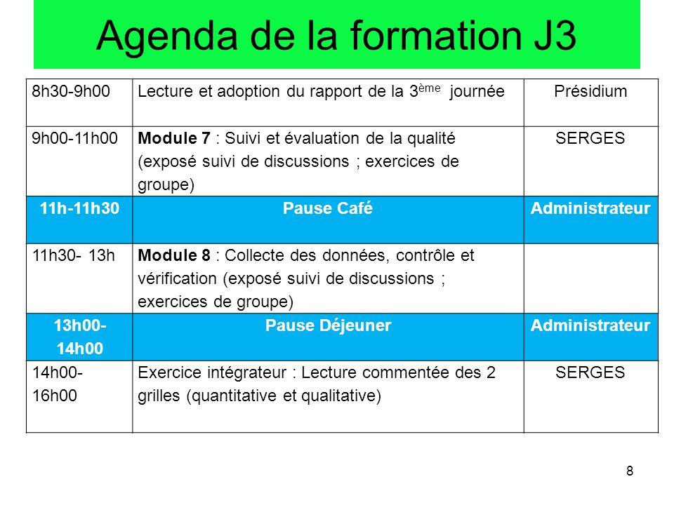 8h30-9h00Lecture et adoption du rapport de la 3 ème journéePrésidium 9h00-11h00 Module 7 : Suivi et évaluation de la qualité (exposé suivi de discussi