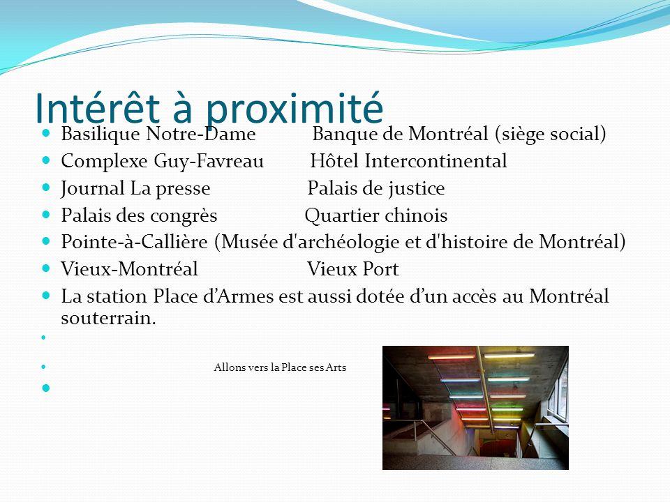 Intérêt à proximité Basilique Notre-Dame Banque de Montréal (siège social) Complexe Guy-Favreau Hôtel Intercontinental Journal La presse Palais de jus